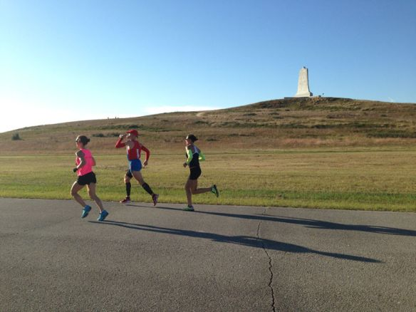 The lead pack at the Wright Brothers Memorial